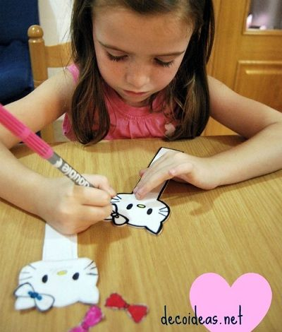 marcapaginas hello kitty dibujar  - Cómo hacer un marcapáginas de Hello Kitty