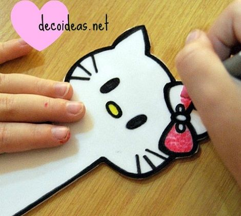 marcapaginas hello kitty pinturas  - Cómo hacer un marcapáginas de Hello Kitty