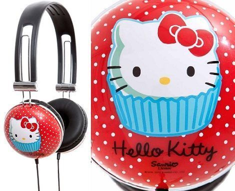 auriculares hello kitty rojo detalle