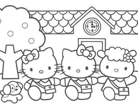 colorear hello kitty imprimir colegio  - Dibujos de Hello Kitty para imprimir