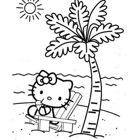 colorear hello kitty imprimir palmera  - Dibujos de Hello Kitty para imprimir