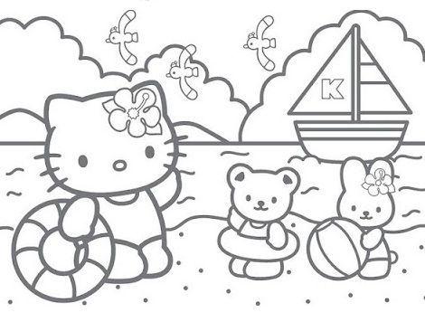colorear hello kitty imprimir playa  - Dibujos de Hello Kitty para imprimir