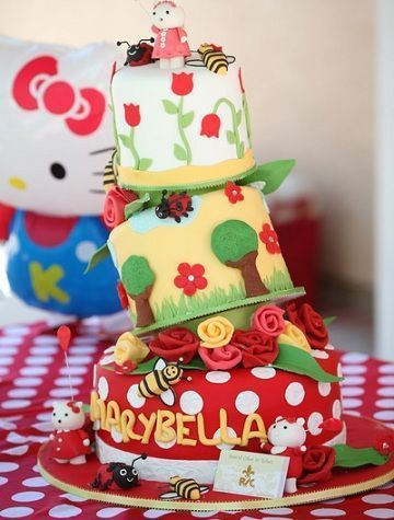 cumpleanos hello kitty jardin tarta