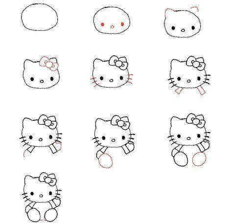 dibujar hello kitty paso a paso bolirafo  - Dibujar a Hello Kitty
