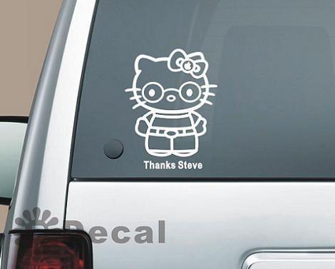 Hello Kitty Steve Jobs  - Pegatina Hello Kitty para el coche