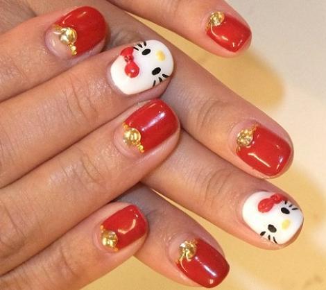 hello kitty uñas  - Uñas Hello Kitty de gel