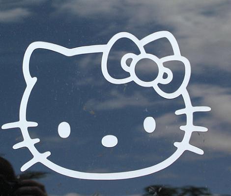 Hello Kitty vinilo coche  - Pegatina Hello Kitty para el coche