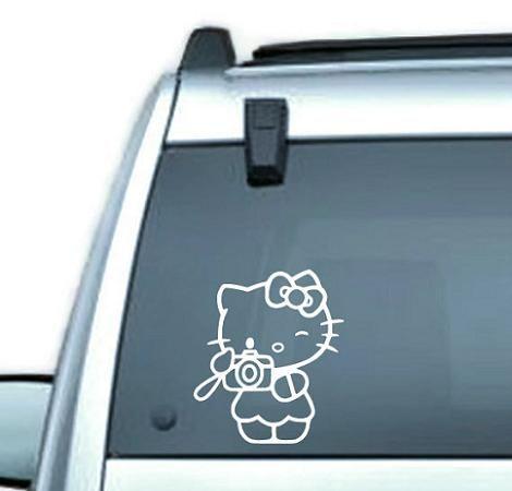 Hello KItty vinilo de cristal  - Pegatina Hello Kitty para el coche