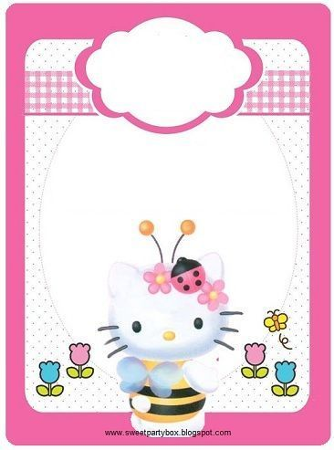 invitaciones hello kitty jardin