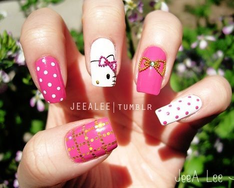 unas decoradas hello kitty gel