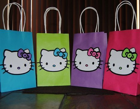 bolsas cumple hello kitty colores  - Bolsas de cumple de Hello Kitty