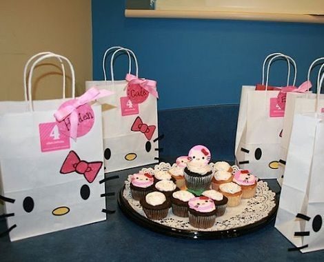 bolsas cumple hello kitty lazo  - Bolsas de cumple de Hello Kitty