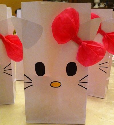 bolsas de cumple hello kitty  - Bolsas de cumple de Hello Kitty