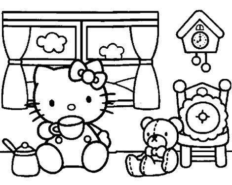 dibujos hello kitty imprimir gratis tomando te