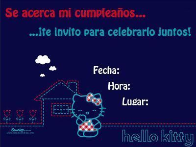 invitaciones hello kitty cumpleanos azul