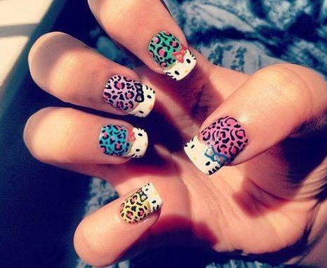 nail art hello kitty leopardo
