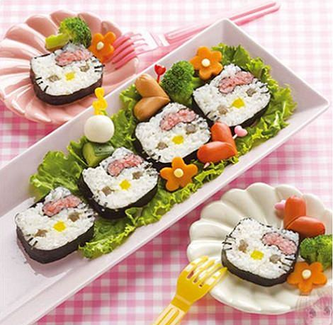 cómo hacer sushi de hello kitty