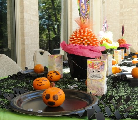mesa decorada de halloween