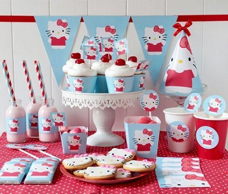 kit de fiesta de hello kitty para imprimir gratis