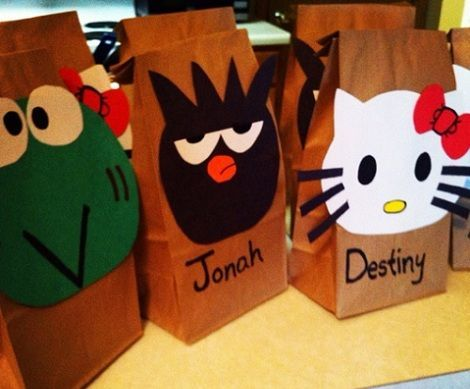 bolsas de cumpleanos de hello kitty caseras  - Bolsas de cumpleaños de Hello Kitty caseras