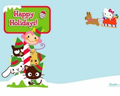fondo de escritorio Hello Kitty navidad