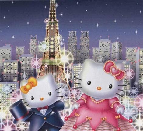 Hello Kitty en París noche