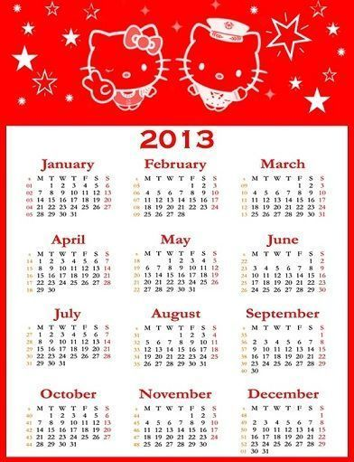 calendarios 2013 hello kitty  - Calendarios 2013 Hello Kitty
