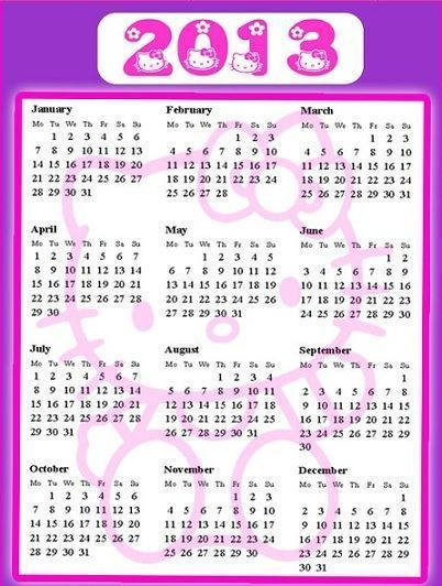 calendarios 2013 hello kitty