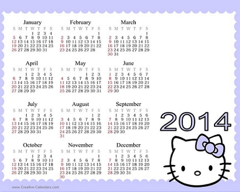 calendario de hello kitty 2014 lila  - Calendario de Hello Kitty 2014