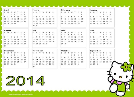 calendario de hello kitty 2014 verde  - Calendario de Hello Kitty 2014