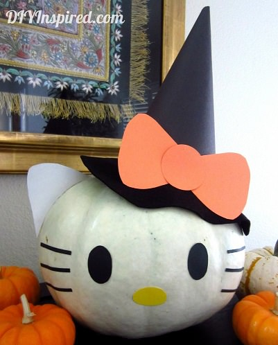 calabaza de hello kitty para halloween  - Cómo decorar una calabaza con Hello Kitty