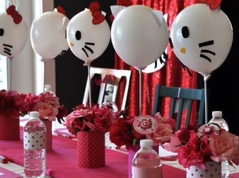decoracion de cumpleaños con globos de Kitty