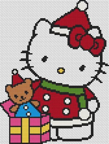 patrones de hello kitty a punto de cruz  - Patrones de Navidad de Hello Kitty a punto de cruz