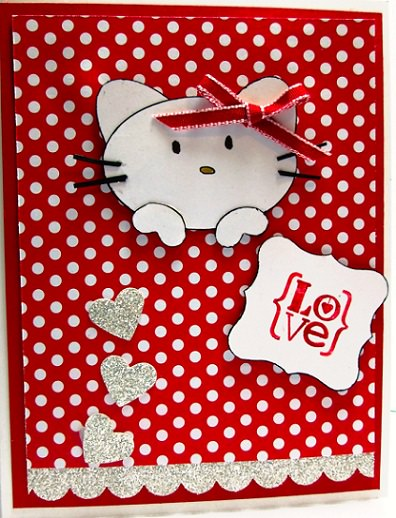 Cómo hacer una tarjeta de San Valentín casera de Hello Kitty