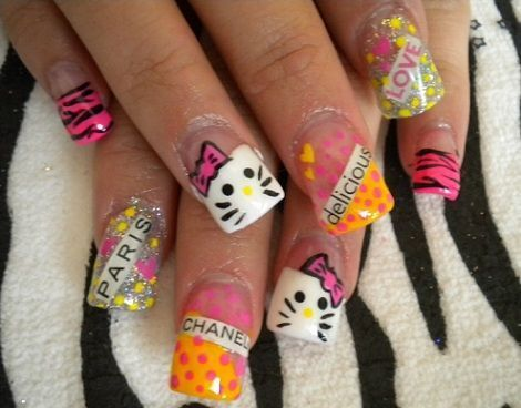 unas decoradas hello kitty 2013  - Uñas decoradas Hello Kitty 2013