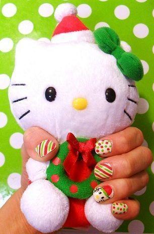 unas hello kitty navidad