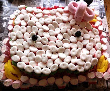 como hacer una tarta de hello kitty de chuches