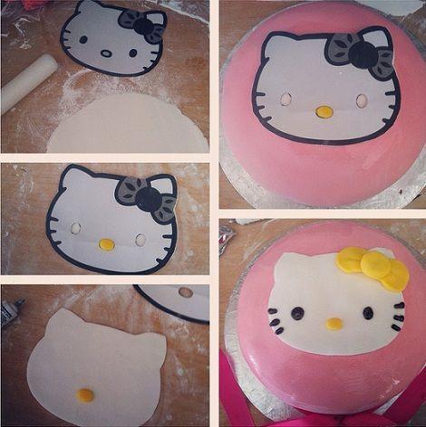 como decorar tu tarta de hello kitty con fondant
