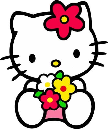 plantilla para pastel de Kitty con flores  - Cómo hacer una tarta de gominolas de Hello Kitty paso a paso