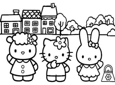 colorear hello kitty amigos