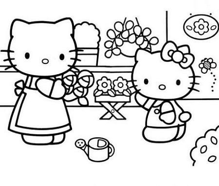 colorear hello kitty jardinera