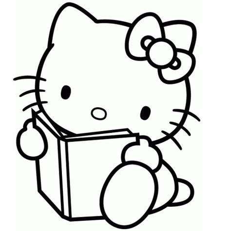 dibujos hello kitty para colorear leyendo