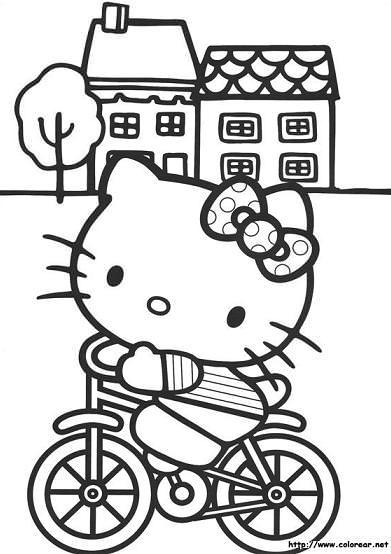 hello kitty para colorear bici