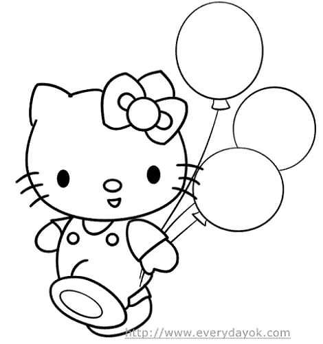 dibujos para colorear kitty