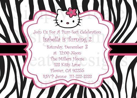 invitacion hello kitty cebra