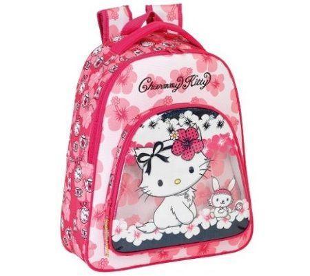 mochila escolar hello kitty flores