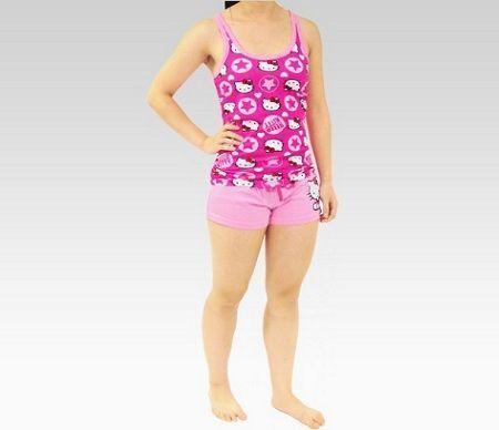pijamas hello kitty corto rosa