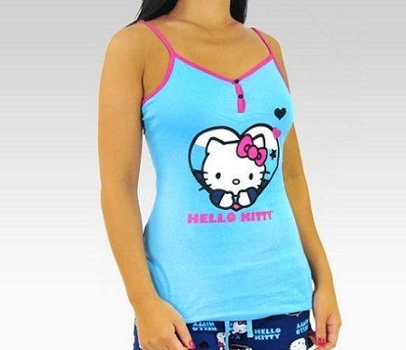 pijamas hello kitty largo azul conjunto
