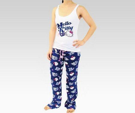 pijamas hello kitty largo azul