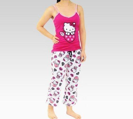 pijamas hello kitty largo blanco rosa